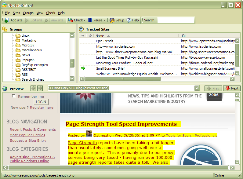 UpdatePatrol- Automatic Web Page Watcher screen shot